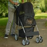 PetsN'all Foldable Pet Stroller With Wheel Carrier Strolling Cart - Black 3