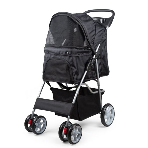 PetsN'all Foldable Pet Stroller With Wheel Carrier Strolling Cart - Black