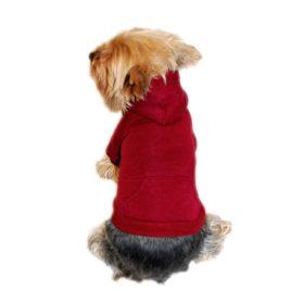 Anima Burgundy Pullover Drawstring Hoodie Sweatshirt, X-Small