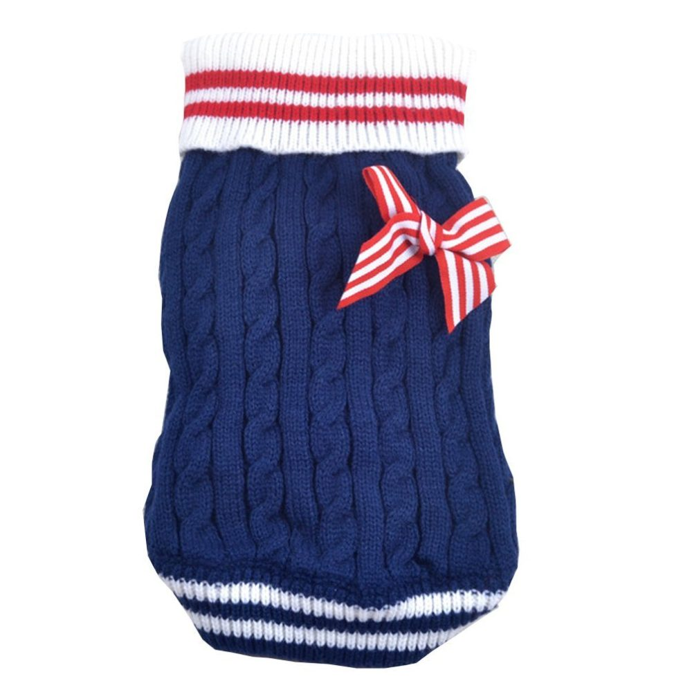 BB Gossip Striped Warm Cable Knit Christmas Jumper Sweater
