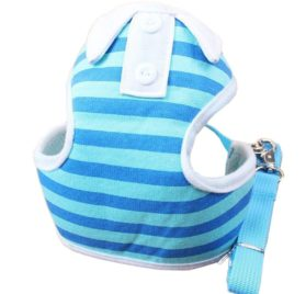 BWSC Blue Striped Soft Dog Harness And Lead Set For Chihuahua Pomeranian Puppy