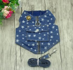 Beirui Denim Dog Harness Vest and Leash Set - Soft Blue Padded Pet Jean Stars Dog Shirt Pet Clothing - Dog Apparel & Accessories with Pocket for Puppy Small Dogs Cat Chihuahua,Teddy,Bichon, Schnauzer 7