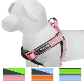 """Blueberry Pet 4 Colors Soft & Comfy New 3M Reflective Step-in Pastel Color Padded Dog Harness, Chest Girth 15.5"""" - 19.5"""", Baby Pink, Small, Adjustable Harnesses for Dogs"""