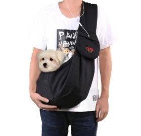 CISNO Dog Sling Carrier with Pouch Adjustable Strap, Carry Puppy Pet 7-11 Lbs-Cotton Fleece Fabric (Black)