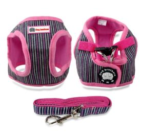 Didog Small Dog Vest Harness Clothes,Soft Cotton Harness and Leash Set for Pug Yorkie Chihuahua Walking Running