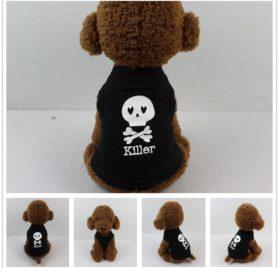 Dog Clothes Wakeu Pet Puppy Skull Killer Pattern T-shirt Apparel for Small Dog Boy Chihuahua Yorkie (Black, XS) 2