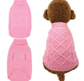 Dog Sweater Coat Apparel - Cable Knitwear Winter Clothes