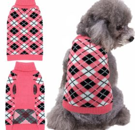 Dog Sweater Coat Apparel - Plaid Knitwear Winter Clothes,Pink,S