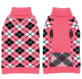 Dog Sweater Coat Apparel - Plaid Knitwear Winter Clothes,Pink,S 3