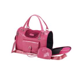 Anima Pink Faux Crocodile Travel Bag, 13-Inch by 7-Inch by 9-Inch, Small