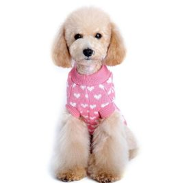 HP95(TM) Hot! Dog Clothes, Love Heart Printed Pet Winter Knitted Sweater Knitwear Puppy Warm High Collar Coat and Jacket