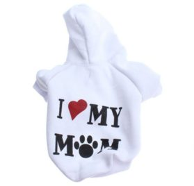 Haogo Pet Puppy Sweater I Love My Mom Printed Hooded Sweatshirt for Small Dog Pet