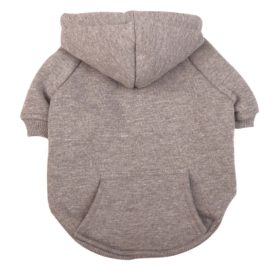 Idepet Dog Cat Hoodie Cotton Pet Coats Solid Color Clothing for Small Dogs Puppy Teddy Poodle Chihuahua (X Small, Gray)