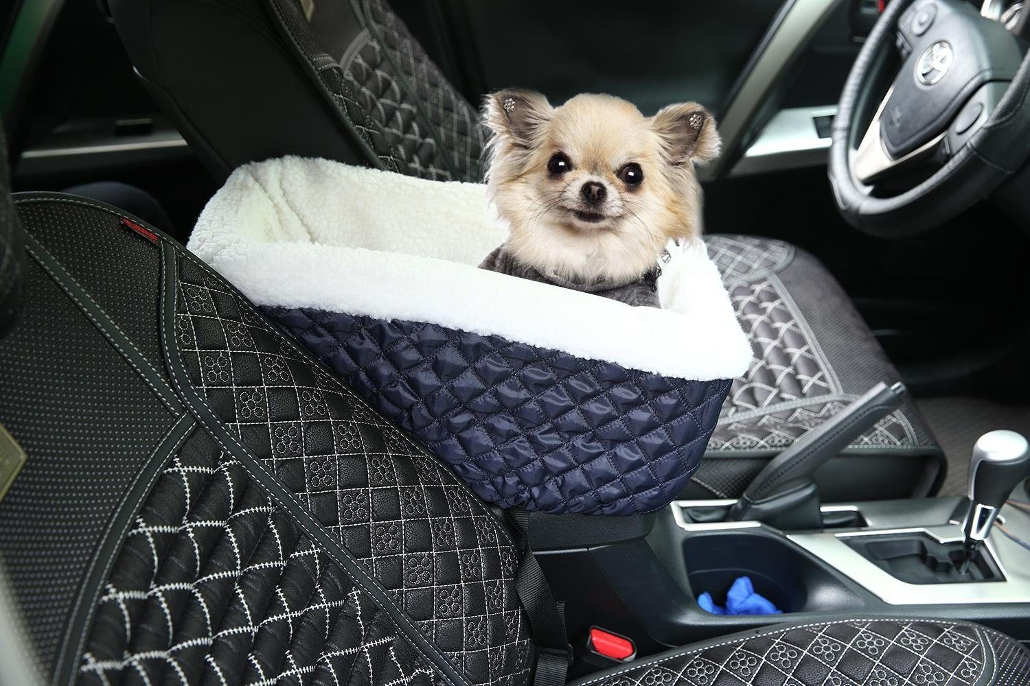 kobwa tm console dog car seat for small pets with safety belt. Black Bedroom Furniture Sets. Home Design Ideas