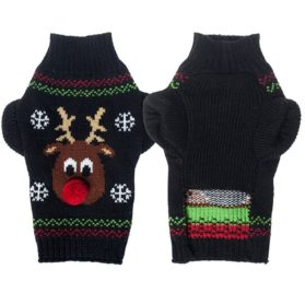 Kuoser Holiday Christmas Classic Cartoon Reindeer Dog Sweater Knitwear for Cold Weather Small Medium sized dog winter Coat Costume ( XS-XXL ),Reindeer S 2