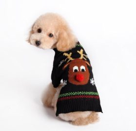 Kuoser Holiday Christmas Classic Cartoon Reindeer Dog Sweater Knitwear for Cold Weather Small Medium sized dog winter Coat Costume ( XS-XXL ),Reindeer S