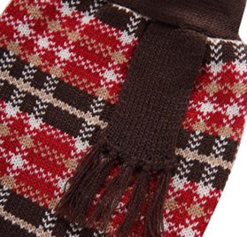 Minisoya Autumn Winter Fashion Pet Clothes Plaid Shirt Vest Sweater Knitwear Coat 2