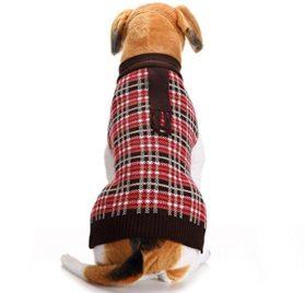 Minisoya Autumn Winter Fashion Pet Clothes Plaid Shirt Vest Sweater Knitwear Coat
