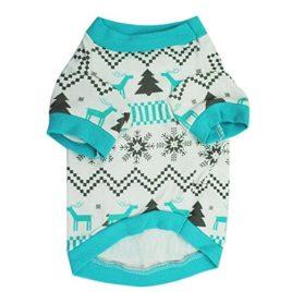 Minisoya Christmas Tree Pet Dog Clothes Printed Snowflake Elk Shirt Puppy Festival Costume 2