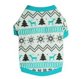 Minisoya Christmas Tree Pet Dog Clothes Printed Snowflake Elk Shirt Puppy Festival Costume