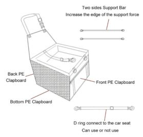 OAKZIP Pet Reinforce Car Booster Seat for Dog Cat Portable and Breathable Bag with Seat Belt Dog Carrier 8