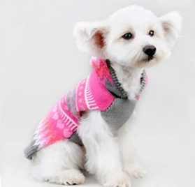 Ollypet Christmas Dog Sweater Chihuahua Clothes Knit For Girl Pink Hoodie Pom Pom Heart Winter Outfit XXS 2