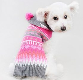 Ollypet Christmas Dog Sweater Chihuahua Clothes Knit For Girl Pink Hoodie Pom Pom Heart Winter Outfit XXS