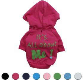 Ollypet Pet Clothes Puppy Sweater For Small Dogs Cute Teacup Chihuahua Yorkie Fleece Hoodie Clothing For Winter Hot Pink XS