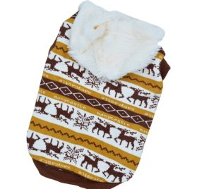 Pet Clothes Dog Deer Pattern Hoodies for Christmas-Halloween Puppy Sweaters for Winter Brown S