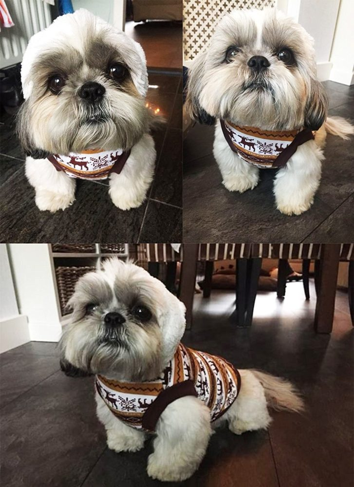 pet clothes dog deer pattern hoodies for christmas halloween puppy sweaters for winter brown s