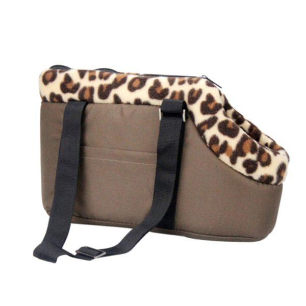 Qianle Leopard Dots Lightweight Pet Carrier Dog-Cat Handbag Shoulder Tote Bags Coffee S