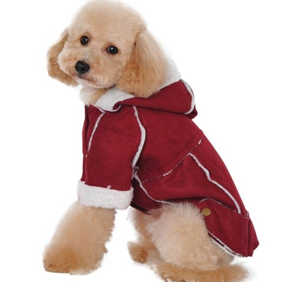 Albabara British Style Cozy Dog Winter Coat Pet Hooded Clothes Snowsuit Apparel Cold Weather Warm Faux Suede Shearling Fabric Dog Jacket for Small Medium Dogs