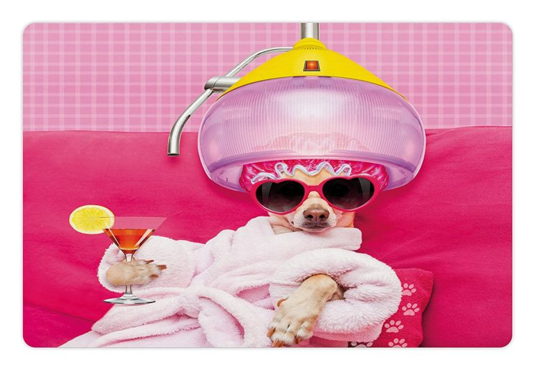 Funny Pet Mats for Food and Water by Lunarable, Chihuahua Dog Relaxing and Lying in Wellness Spa Fashion Puppy Comic Print, Rectangle Non-Slip Rubber Mat for Dogs and Cats, Magenta Baby Pink