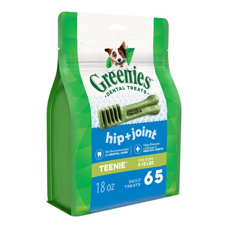 GREENIES Hip and Joint Care Dental TEENIE Dog Treats - Mega TREAT-PAK Package 18 oz. 65 Treats