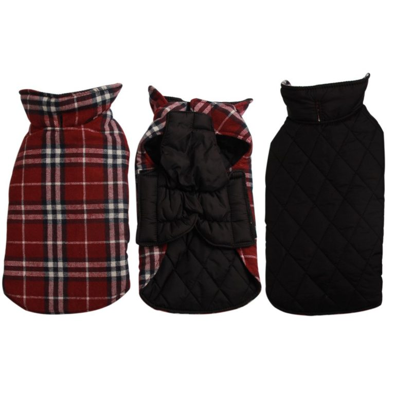 JoyDaog Reversible Plaid Dog Coat(7 Sizes)Waterproof Windproof Warm for Cold Weather Dog Jacket