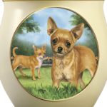 Linda Picken Chihuahua Art Ceramic Cookie Jar With Sculpted Chihuahuas On Lid by The Bradford Exchange 3