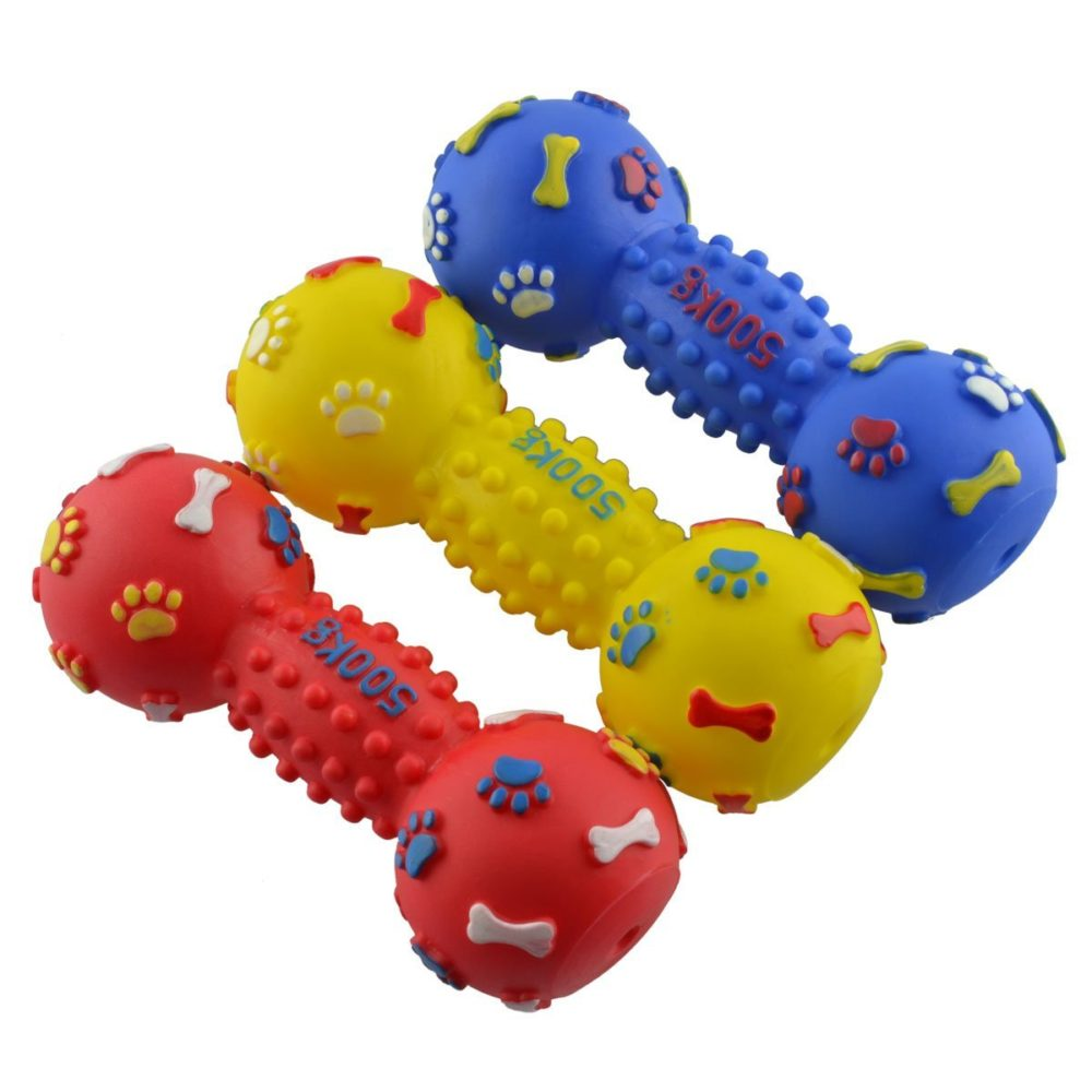 DogLoveit Rubber Vinyl Dumbbell Squeaky Dog Toy, Large