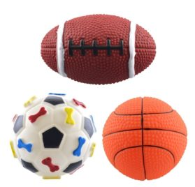 Dogloveit Rubber Ball Toy Squeaky Toy for Pet Puppy Dog Cat