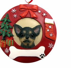 E&S Pets Black Chihuahua Personalized Christmas Ornament