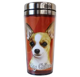 E&S Pets Stainless Steel Chihuahua Tan Tumbler, 16 oz