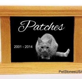 Pet Cremation Urn Oak Wood Box Photo Memorial Granite Any Animal Personalized Personalised Chihuahua Dalmatian