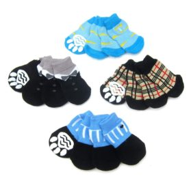 Alfie Pet by Petoga Couture - Sawyer 4 Set of 4 Dog Paw Protection Indoor Socks - Size- Small