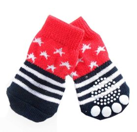 BB Gossip Stripes and Stars Pattern Warm Knitted Cotton Indoor Socks for Chihuahua
