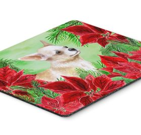 "Caroline's Treasures Chihuahua Leg up Poinsettas Mouse Pad, Hot Pad or Trivet, 7.75"" x 9.25"", Multicolor (CK1345MP)"