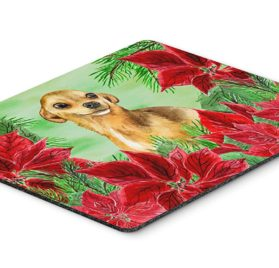 "Caroline's Treasures Chihuahua Poinsettas Mouse Pad, Hot Pad or Trivet, 7.75"" x 9.25"", Multicolor (CK1306MP)"