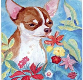 Caroline's Treasures Mouse Pad Hot Pad Trivet, Chihuahua in Flowers (7053MP)