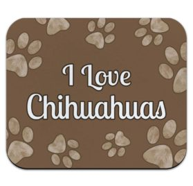 Graphics and More I Love Chihuahuas Brown with Paw Prints Mouse Pad Mousepad