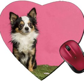 Liili Mousepad Heart Shaped Mouse Pads Mat ID- 26674182 Chihuahua sitting in an easter scenery
