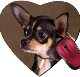 Liili Mousepad Heart Shaped Mouse Pads Mat IMAGE ID- 2811589 Chihuahua with a straw hat