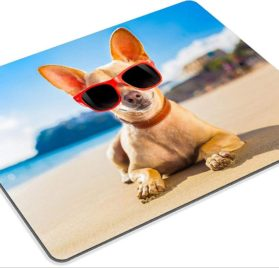 Luxlady Gaming Mousepad IMAGE ID- 32316162 chihuahua dog at the ocean shore beach wearing red funny sunglasses 2